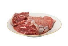 Crude meat on a plate Stock Image