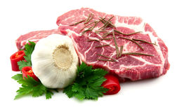 Crude meat with spice Stock Photo