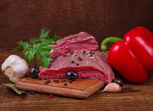 Crude meat and spice Royalty Free Stock Photography