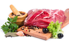 Crude meat and spice Royalty Free Stock Image