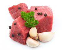 Crude meat  with spices Royalty Free Stock Images