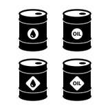Crude oil barrel icons set. Isolated on white background. vector illustration stock illustration