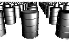 Crude oil barrels Royalty Free Stock Images