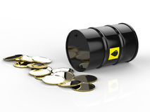 Crude oil barrels with gold coins Royalty Free Stock Image