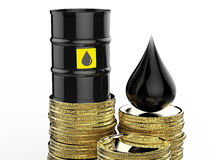 Crude oil barrels with gold coins Stock Image