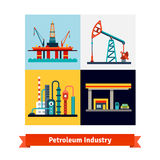 Crude oil extraction, refining, selling business Stock Images