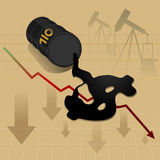 Crude oil price fall down abstract illustration Royalty Free Stock Photo
