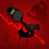 Crude oil price fall down abstract illustration with red leaked Royalty Free Stock Image