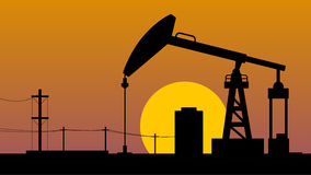 Crude oil pump jack landscape Stock Photography