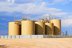 Crude Oil Storage Tanks in Central Colorado, USA stock photography