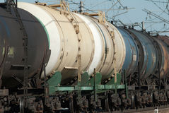 Crude oil tank truck train Royalty Free Stock Photos