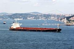 Crude oil tanker. Tanker ship moving through Bosporus Stock Photography