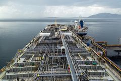 Crude oil tanker discharging to the terminal. Crude oil tanker discharging to the Melones terminal, Panama Stock Photography