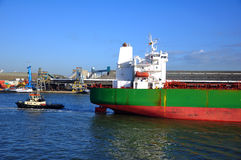 Crude oil tanker in port Stock Image