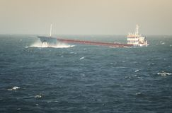 Crude Oil Tanker Sailing Through Rough Sea royalty free stock photography