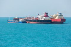 Oil tankers is transferring the oil. Royalty Free Stock Photos