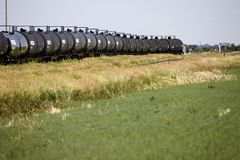 Crude Oil Train Cars Royalty Free Stock Images