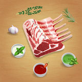 Crude organic lamb chops with herbs and sauces on the board. For use as logos on cards, in printing, posters, invitations, web design and other purposes stock illustration