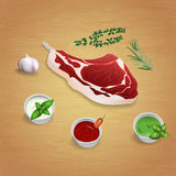 Crude organic lamb cutlet on the bone with herbs and sauces on t. He board. For use as logos on cards, in printing, posters, invitations, web design and other Stock Images