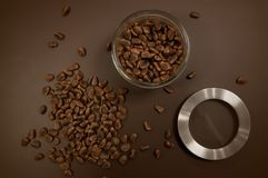 Crude pine nuts on brown background top view. Organic and healthy food.  royalty free stock photography