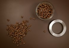 Crude pine nuts on brown background top view. Organic and healthy food.  stock image