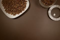 Crude pine nuts in plate and in can on brown background top view. Organic and healthy food.  royalty free stock image