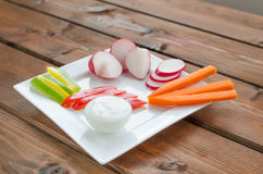 Crudites. With blue cheese souce, cutted vegetable Royalty Free Stock Photography