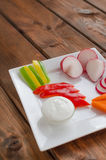 Crudites. With blue cheese souce, cutted vegetable Stock Image