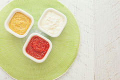 Crudites with dip. Vegetable sticks with three different  dips Stock Images