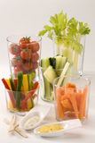 Crudites salad. Assorted vegetables sticks and dips. Selective focus Royalty Free Stock Images