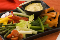 Crudites salad. Assorted vegetables sticks and dip. Selective focus Royalty Free Stock Photography