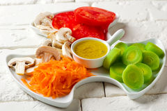 Crudites Salad with classic vinaigrette. Selective focus Royalty Free Stock Photography