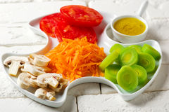 Crudites Salad with classic vinaigrette royalty free stock images