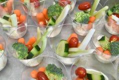 Crudites. Single servings of dip and veggies Stock Photo