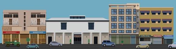 Crudo de vista delantera de los edificios de la calle Imagen de archivo libre de regalías