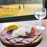 Crudo e parmigiano di Prosciutto in Toscana Fotografie Stock