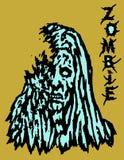 Cruel blue zombie female. Vector illustration. Stock Photography