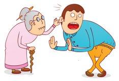 Cruel grandma. Illustration of a cruel grandma with his son available in vector eps 8 file Stock Photos
