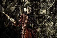 Cruel pirate man. Fantasy adventure novel. Terrible evil pirate, risen from the dead. Halloween Royalty Free Stock Image
