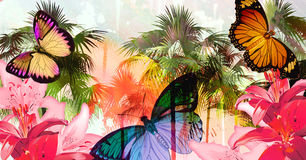 Cruel summer. Tropical palmtree island scenic illustration with floating butterflies and dripping paint splatter effect Royalty Free Stock Photos