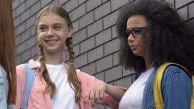 Cruel teenagers bullying, pushing biracial girl to wall, intimidation in school. Stock footage stock video footage