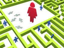 Cruel woman. Deadly maze. 3D render of a maze - labyrinth Royalty Free Stock Photos