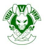 Crueldad-libre van las insignias del logotipo del conejito de la historieta del vegano Fotos de archivo libres de regalías