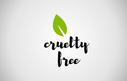Cruelty free green leaf handwritten text white background. Cruelty free text green leaf black white logo  creative company icon design template color colorful Royalty Free Stock Photography