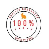 Cruelty free guarantee badge isolated on white. Cruelty free quality guarantee satisfaction money back quality badge style design element on white background royalty free illustration