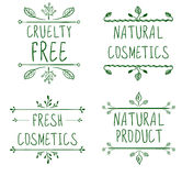 Cruelty free, natural cosmetics, natural product, fresh cosmetics. Flourish vignettes and handwritten letters. VECTOR Royalty Free Stock Photo