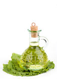 Cruet with oil on lettuce Royalty Free Stock Image