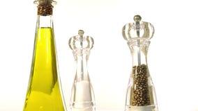 Cruet, salt shaker and pepper shaker stock footage