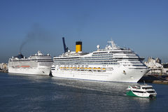 Cruise. Ship in blue ocean docked at Cadiz, Spain port on a beautiful day and with a clear blue sky Stock Photo