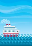 Cruise. The cruise liner swimming on the waves of the ocean Royalty Free Stock Photos